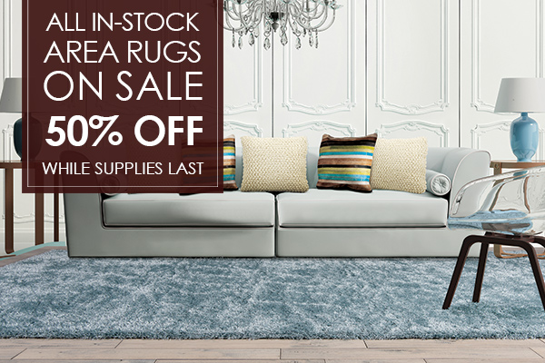 All In-stock area rugs on sale for 50% OFF while supplies last at Not Just Carpet!