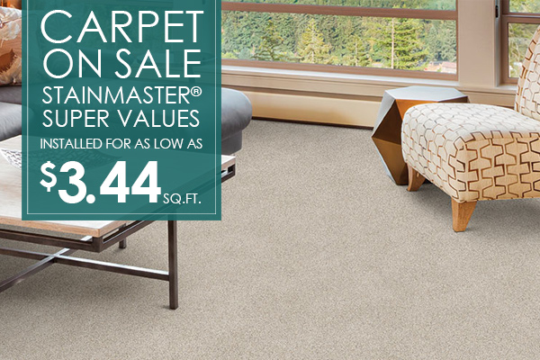 Stainmaster® Carpet Super Values installed for as low as $3.44 sq.ft. at Not Just Carpet!
