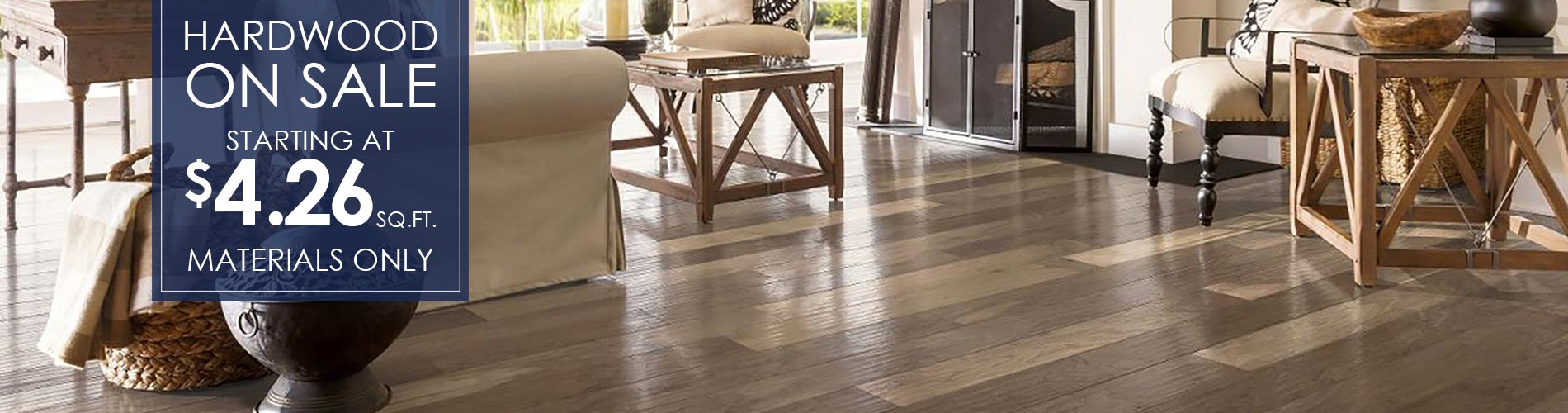 Hardwood flooring on sale starting at $4.26 sq.ft. (materials only) at Not Just Carpet!
